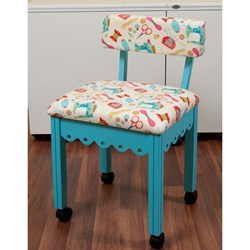 Blue Sewing Chair With White Riley Blake Sewing Notions Fabric