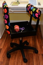 Black Riley Blake Button Fabric Height Adjustable Hydraulic Sewing Chair