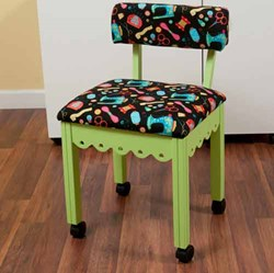 Green Sewing Chair With Black Riley Blake Sewing Notions Fabric