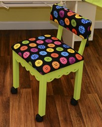 Green Sewing Chair With Riley Blake Button Fabric