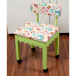 Green Sewing Chair With White Riley Blake Sewing Notions Fabric