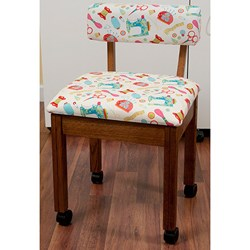 Oak Sewing Chair With White Riley Blake Sewing Notions Fabric