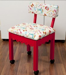 Red Sewing Chair With White Riley Blake Sewing Notions Fabric