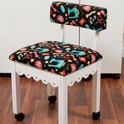 White Sewing Chair With Black Riley Blake Sewing Notions Fabric