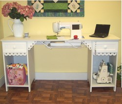 White Olivia Sewing Machine Table/Desk by Arrow - On Backorder