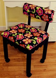 Black Gingerbread Sewing Chairs with Newcastle Floral Fabric