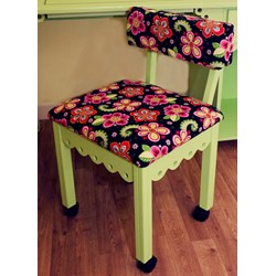 Pistachio Gingerbread Sewing Chairs with Newcastle Floral Fabric