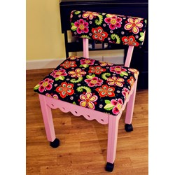 Pink Gingerbread Sewing Chairs with Newcastle Floral Fabric
