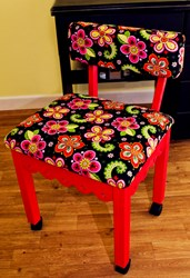 Red Gingerbread Sewing Chairs with Newcastle Floral Fabric