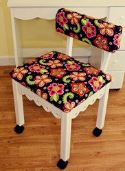 White Gingerbread Sewing Chairs with Newcastle Floral Fabric