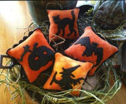 Spooky Shadows Wool Applique Pillows by 1894 Cottonwood House