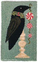 Christmas Crow Punchneedle Pattern & Buttons