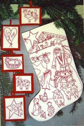 Nativity Pageant Redwork Stocking & Ornaments Pattern <br> by Bird Brain Designs