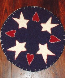 Stars and Hearts Candle Mat Pattern<br> by Country Primitives