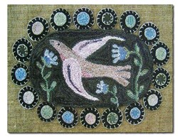 Bird & Bluebells Punchneedle Embroidery Pattern by Hooked on Rugs for Heart to Hand