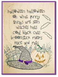 Cats, Bats & Witches Hats Stitchery Pattern <br>by Liberty Rose
