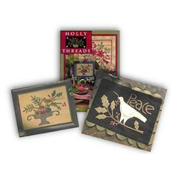 Holly Threads Book, Tidings of Peace Kit & Yuletide Treasures Kit Set