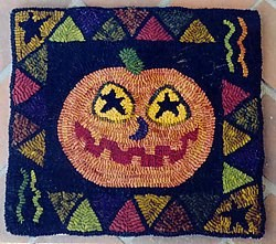 Primitive Pumpkin Jack Hooked Rug Pattern on Monks Cloth<br>by Needl Love