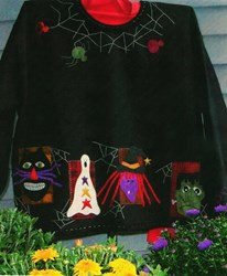 Frightful Night Wool Applique Sweatshirt by Primitive Gatherings