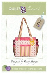 Pocket  Parade Tote Pattern-by Penny Sturges <br> QuiltsIllustrated.com