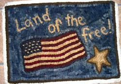 Land of the Free Rug Hooking Pattern on Monk's Cloth