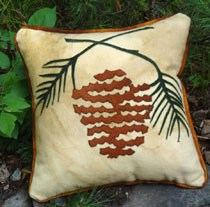 In the Pinewoods Wool Applique Throw Pillow