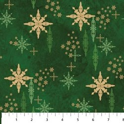 "27"" Remnant - Starry Night - Stonehenge Green Snowflake Toss - by Northcott"