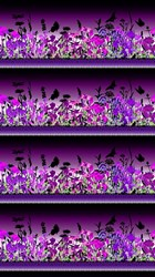 "End of Bolt - 63"" - Dreamscapes II - Purple Border Fabric"