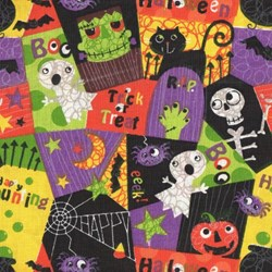Holiday Prints - Halloween Spooky Graveyard in Multi - by AE Nathan Co