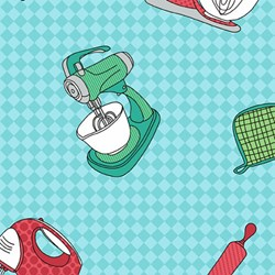 "End of Bolt - 73"" - KITSCHenette - Appliances on Teal Check - by Claudine Hellmuth for Andover Fabrics"