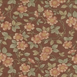 Antique Fair - Floral Vines on Brown - by Blackbird Designs for Moda