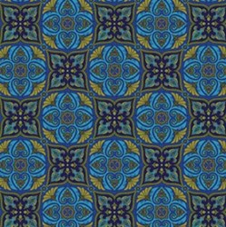 "End of Bolt - 69"" - Arabella - Tile Blue - by Benartex"