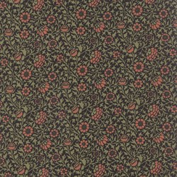 Best of Morris - Dark Brown Floral - by Barbara Brackman for MODA