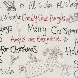 Christmas Words on Cream - Candy Cane Angels  By Lynette Anderson for Lecien