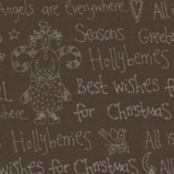 Christmas Words on Brown - Candy Cane Angels  By Lynette Anderson for Lecien