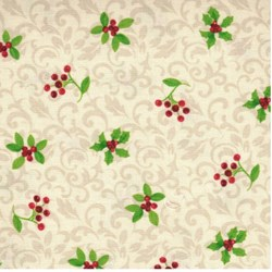 "31"" Remnant- Poinsettia - Christmas Holy on Cream - by Clothworks"