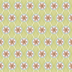 "35"" Remnant- Cottage Charm - Green Daisy Grid - by Jacquelynne Steves of The Art of Home for Henry Glass"