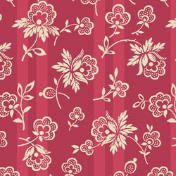 "9"" Remnant - English Diary - Cream Flower on Red Stripe - by Renee Nanneman for Andover Fabrics"