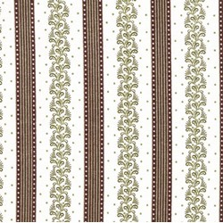 Flourish - Brown, Green & Cream Stripe