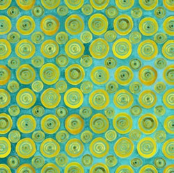Four Seasons - Autumn - Blue/Green Orange Circles - by Julie Paschkis for In The Beginning Fabrics