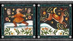 "Four Seasons - 24"" Winter Panel  - by Julie Paschkis for In The Beginning Fabrics"