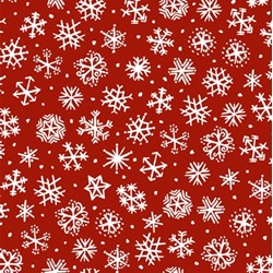 Four Seasons - Winter - Red with White Snowflakes - by Julie Paschkis for In The Beginning Fabrics