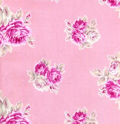 "8"" Remnant Piece Picnic Parade Quilt Fabric - Pink with Rose Clusters"