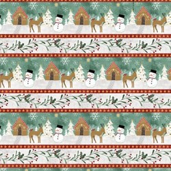 Frosted Holiday - Border Print - <br>by Katie Doucette for Wilmington Prints