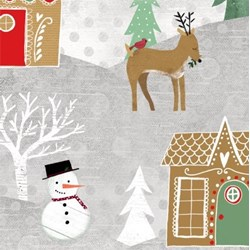 "9"" Remnant Piece - Frosted Holiday - Winter Holiday Scene - by Katie Doucette for Wilmington Prints"