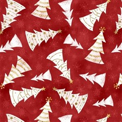 Frosted Holiday - Christmas Trees on Red - <br>by Katie Doucette for Wilmington Prints
