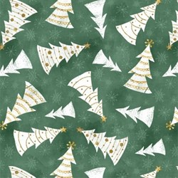 Frosted Holiday - Christmas Trees on Green - <br>by Katie Doucette for Wilmington Prints