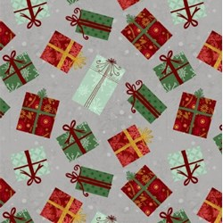 Frosted Holiday - Christmas Gifts on Grey- by Katie Doucette for Wilmington Prints