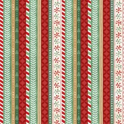 "21"" Remnant Piece - Frosted Holiday - Holiday Stripes in Multi - <br>by Katie Doucette for Wilmington Prints"