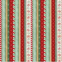 "21"" Remnant Piece - Frosted Holiday - Holiday Stripes in Multi - by Katie Doucette for Wilmington Prints"